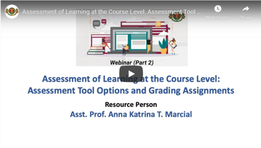 Assessment of Learning at the Course Level