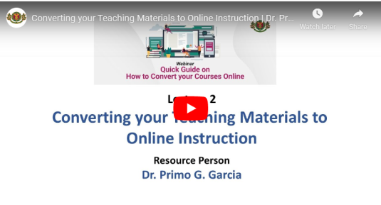 Converting Your Teaching Materials to Online Instruction